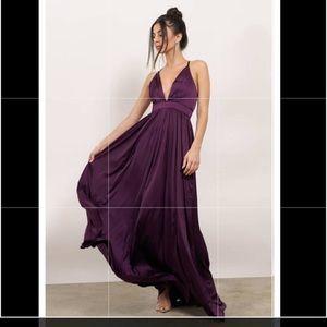 Plum satin maxi dress